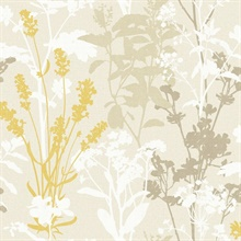 Pippin Mustard Wild Flowers Wallpaper