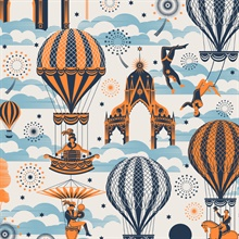 Pleasure Gardens - Tangerine Dream colourway wallpaper