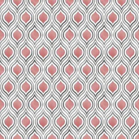 Plume Coral Ogee Wallpaper