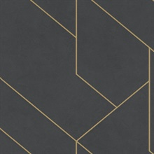 Pollock Black & Gold Gilded Geometric Textured Wallpaper