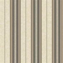 Poppy Black Baroque Stripe Wallpaper