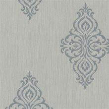 Powell Aqua Damask Medallion Wallpaper