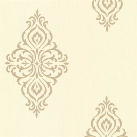 Powell Gold Damask Medallion Wallpaper