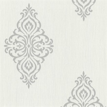 Powell Light Grey Damask Medallion Wallpaper