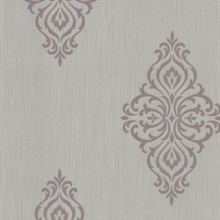 Powell Mauve Damask Medallion Wallpaper