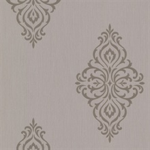 Powell Taupe Damask Medallion Wallpaper