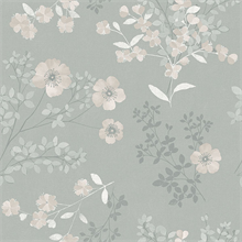 Prairie Rose Taupe Floral Wallpaper