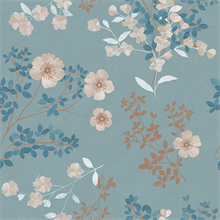 Prairie Rose Teal Floral Wallpaper