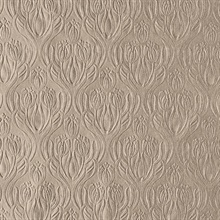 Printemps Brown Tulip Ogee Wallpaper