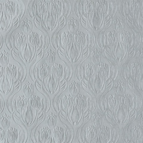 Printemps Silver Tulip Ogee Wallpaper