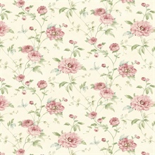Priscilla Pink Peony Floral Trail Wallpaper
