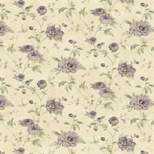 Priscilla Purple Peony Floral Trail Wallpaper