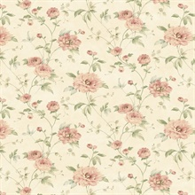 Priscilla Red Peony Floral Trail Wallpaper