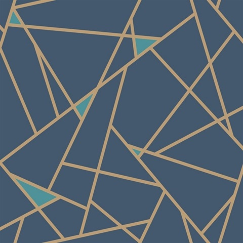 Prismatic Wallpaper Ry2704 Gold Blue Modern Geometric