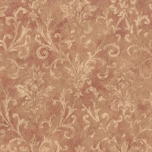 Prospero Tawny Damask Scroll Texture Wallpaper