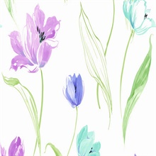 Purple and Blue Tulip Toss Floral