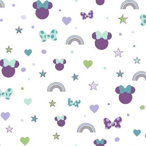 Di0990 Purple Disney Minnie Mouse Rainbow Wallpaper