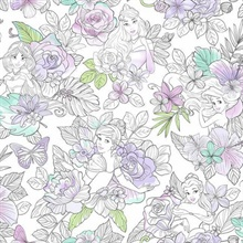 Purple Disney Princess Royal Floral Wallpaper
