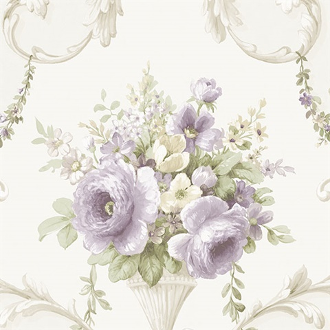 Purple Floral Acanthus Scroll