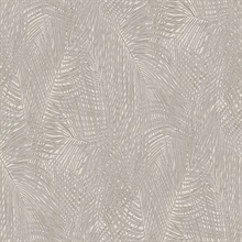 Raina Taupe Tropical Palm Leaves Wallpaper