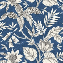 Rainforest Floral Blue Wallpaper