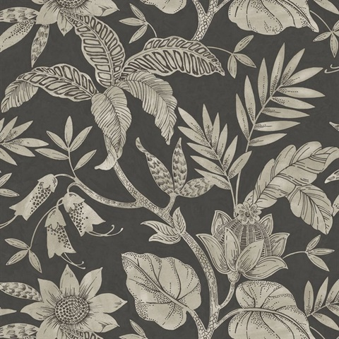Rainforest Floral Charcoal Grey Wallpaper