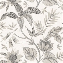 Rainforest Floral Grey Wallpaper