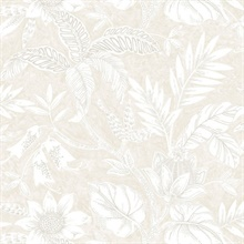 Rainforest Floral Light Grey Wallpaper