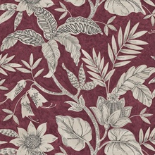 Rainforest Floral Maroon Wallpaper