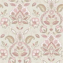 Rayleigh Pink Floral Damask Wallpaper