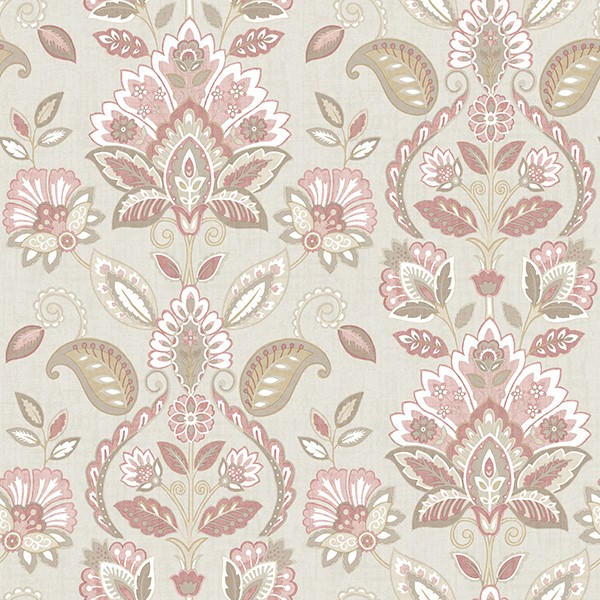 3112 002731 Rayleigh Pink Floral Damask Wallpaper