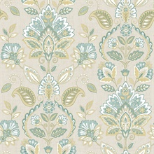 Rayleigh Teal Floral Damask Wallpaper