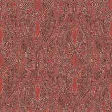 Red Ascot Classic Damask & Paisley Wallpaper