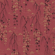 Red Black Gold Willow Branches Wallpaper
