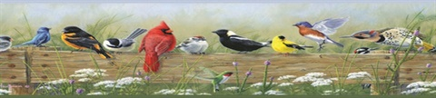 Red Clarence Green Songbird Menagerie Portrait Border