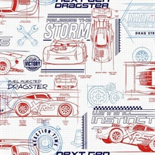 Red Disney and Pixar Cars Schematic Wallpaper