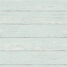 Rehoboth Aqua Distressed Wood Wallpaper