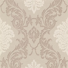 Rennie Beige Damask Wallpaper