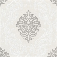 Rennie Silver Damask Wallpaper