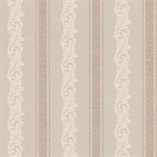 Rennie Stripe Beige Scrolling Stripe Wallpaper