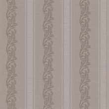 Rennie Stripe Brass Scrolling Stripe Wallpaper