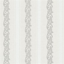 Rennie Stripe Light Grey Scrolling Stripe Wallpaper