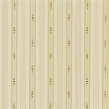 Rosebud Beige Floral Stripe Wallpaper