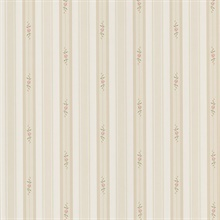 Rosebud Taupe Floral Stripe Wallpaper