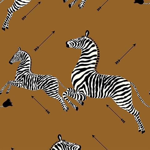 Safari Brown Zebra Wallpaper