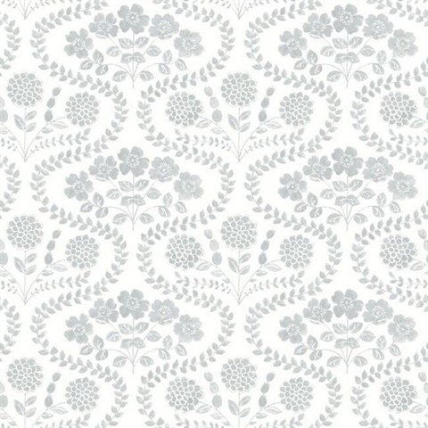Sage & White Folksy Floral Wallpaper