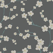 Sakura Dark Grey Floral