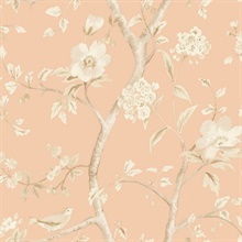 Salmon Pink & Beige Southport Bird On Branches Floral Trail Wallpaper