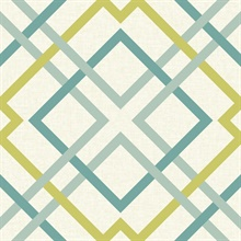 Saltire Green Lattice Wallpaper