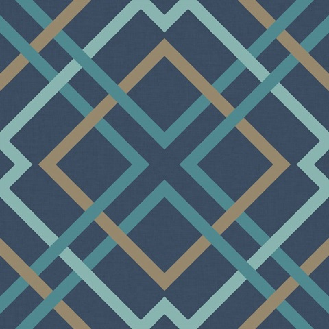 Saltire Navy Lattice Wallpaper
